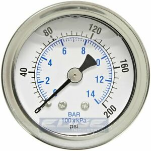Liquid Filled Pressure Gauge 0 200 Psi 1 5 Face 1 8 Npt Back Mount
