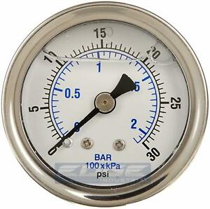 Liquid Filled Pressure Gauge 0 30 Psi 1 5 Face 1 8 Npt Back Mount