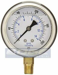 Liquid Filled Pressure Gauge 0 200 Psi 2 5 Face 1 4 Npt Lower Mount Wog