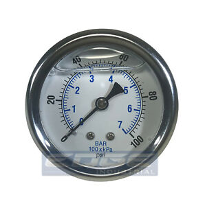 Liquid Filled Pressure Gauge 0 100 Psi 2 5 Face 1 4 Back Mount Wog
