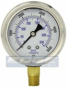 Liquid Filled Pressure Gauge 0 5 000 Psi 2 5 Face 1 4 Npt Lower Mount Wog