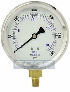 Liquid Filled Pressure Gauge Compressor Hydraulic 4 Face 0 300 Lower Mnt 1 4
