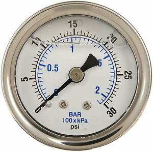 Liquid Filled Pressure Gauge Compressor Hydraulic 4 Face 0 5000 Back Mt 1 4 npt