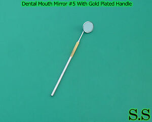 12 Dental Mouth Mirror 5 With Gold Plated Handle Dental Surgical Instruments