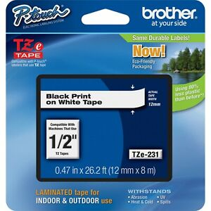 4 Pack Brother Tze231 Tz 231 1 2 Black On White P touch Label Tape