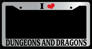 Chrome License Plate Frame I Heart Dungeons And Dragons Accessory Novelty 108