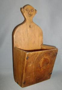 American Folk Art Carved Wooden Hanging Candle Or Pipe Box Elf Figure Grotesque