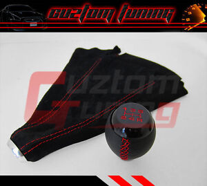For Honda Civic Si Coupe 5 Speed Blk Leather Shift Knob Suede Boot Red Stitch