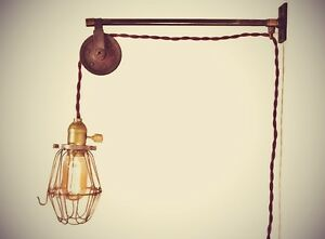 Vintage Industrial Pulley Sconce Wall Mount Cage Lamp Pendant Machine Age