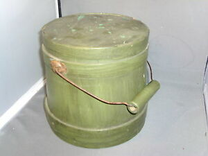 Antique Firkin 19th C American Federal Paint Decorated Wood Pantry Box Shaker