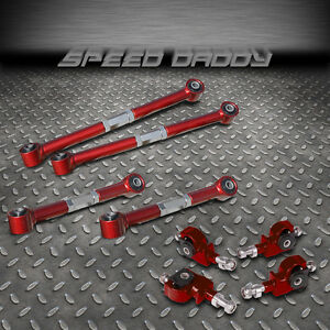 Suspension Red Rear Lower Upper Control Arm Front Camber Kit 90 97 Honda Accord