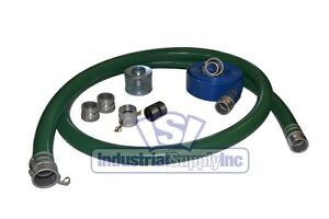 2 Green Mud Water Suction Hose Complete Kit W 75 Blue Discharge Hose