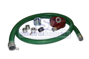 2 Green Trash Pump Water Suction Hose Complete Kit W 75 Red Discharge Hose