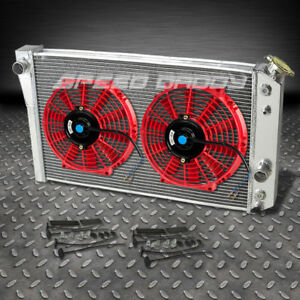3 Row Aluminum Racing Radiator 2x 10 Red Fans 82 02 Chevy S10 Blazer Corvette V8