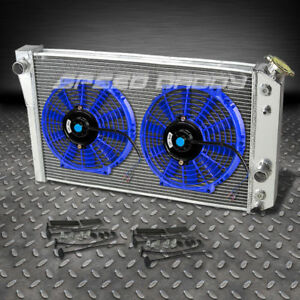 3 Row Aluminum Racing Radiator 2 X 10 Blue Fans 1982 2002 Chevrolet S10 S 10 V8