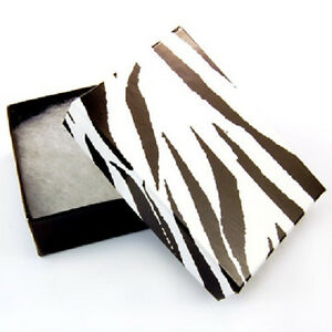 Wholesale 100 Small Zebra Print Cotton Fill Jewelry Ring Earring Gift Boxes 17 8
