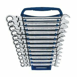 Gearwrench 9901 Metric Flex Head Combination Ratcheting Wrench Set 12pc