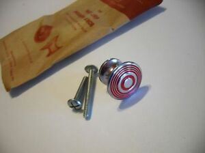 Vtg Chrome Knobs Red Concentric Rings Drawer Cabinet Door Pulls Art Deco Nos