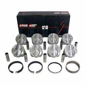 Speed Pro Ford 289 302 Flat Top Hypereutectic Pistons moly Rings 9 0 1 40