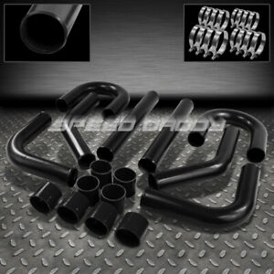 Universal 8pc 2 75 Aluminum Fmic Intercooler Piping silicone Hose t clamp Black
