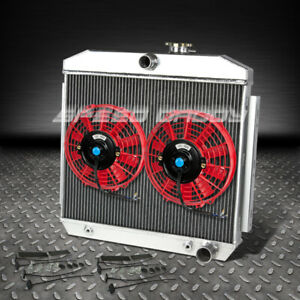 3 Row Core Aluminum Racing Radiator 2 X 9 Red Fan 55 57 Chevy Small Block Sbc V8