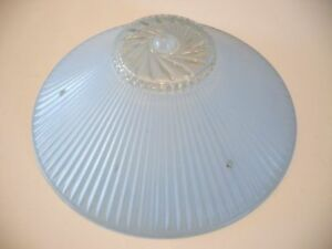 Vtg Glass Ceiling Light Shade Art Deco Blue Frosted Ribbed Clear Spiral Bottom