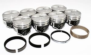 Sealed Power Chevy 400 4 155 Flat Top Pistons Moly Ring Kit Sbc 030 H616cp30