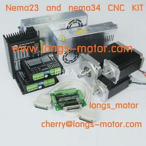 Top Recommand Nema23 425oz in nema 34 1232oz in 3axis Kit For Cnc Router New