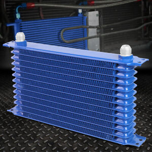13 Row 10an Powder Coated Aluminum Engine Transmission Racing Oil Cooler Blue