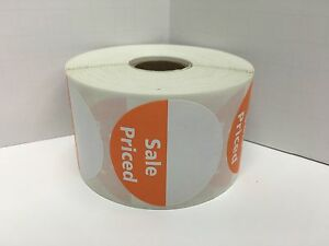 6 Rolls 2 inch Round Orange Sale Priced Direct Thermal Labels 1000 Each