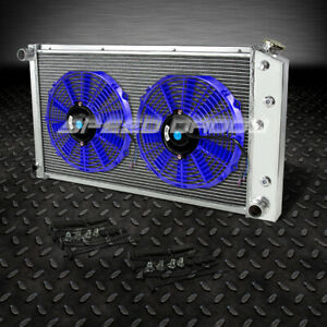 3 Row Aluminum Racing Radiator 2 10 Blue Fan 73 80 Chevy Small Block Sbc L6 V8