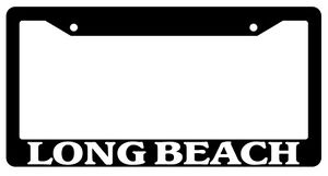 Black License Plate Frame Long Beach City State Auto Accessory 1532
