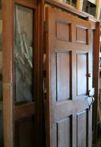 Antique Style Entrance Door With Surround Stained Glass Side Lights 1448 13