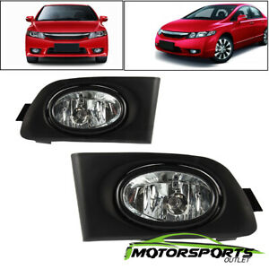 Glass Lens For 2001 2002 2003 Honda Civic 2dr 4dr Jdm Fog Lights Switch Wiring