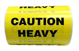 Yellow Caution Heavy Shipping Special Handling Labels 4 X 2 500 roll