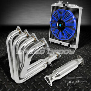 Racing Header Manifold piping Exhaust radiator blue Fan 99 00 Civic Si Em B16a2