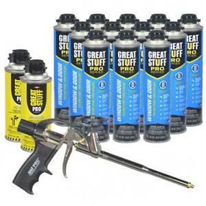 Great Stuff Pro Window And Door Foam 12 Cans Foam Gun 2 Cleaner