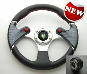 Jdm Carbon Look Red Stitch Steering Wheel Beginner Horn Button Hub Adapter