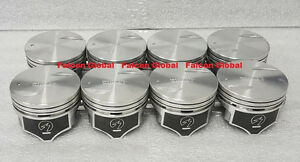 Chevy 7 4 454 Speed Pro Hypereutectic Coated Skirt Flat Top Pistons Set 8 040