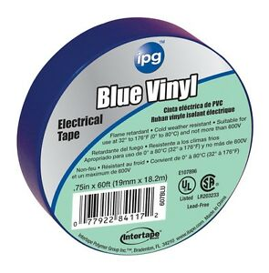 Intertape 85831 50 Pack 75 In X 60 Ft Vinyl Electrical Tape Blue