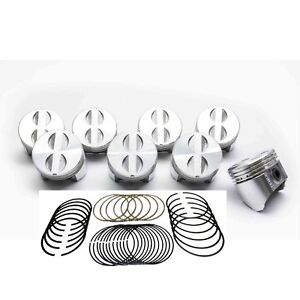 Chevy 283 Sealed Power Federal Mogul Cast Flat Top 4vr Pistons Rings Set Kit 40