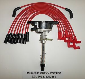 Chevy Gmc Vortec 5 7l 350 5 0l 305 Distributor 96 01 Red Spark Plug Wires Usa