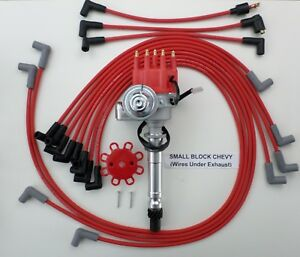Small Block Chevy Red Small Cap Hei Distributor Spark Plug Wires Under Exhaust