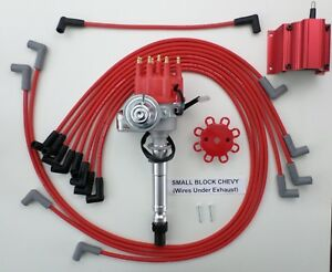 Chevy Small Block Red Small Cap Hei Distributor Coil Plug Wires Under Exhaust