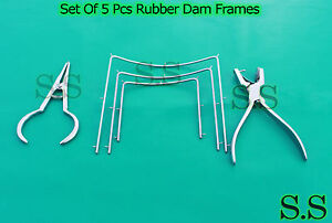 Set Of 5 Pc Rubber Dam Frame Ainsworth Plier Dental Endodontic Instrument Dn 492