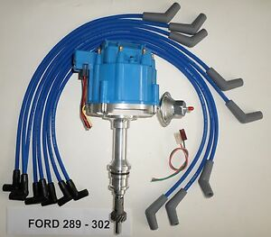 Ford Small Block 221 260 289 302 Blue Hei Distributor 8mm Spark Plug Wires Usa