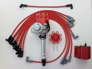 Small Block Chevy Red Small Hei Distributor Coil Plug Wires Over Valve Cover