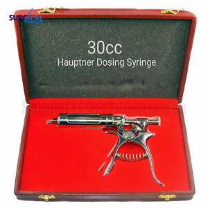 30cc Hauptner Dosing Syringe Veterinary Ranch Farm Livestock Stainless Steel