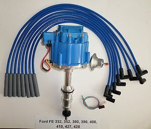 Ford Fe Hei Distributor 332 352 360 390 406 427 428 Blue Spark Plug Wires Usa