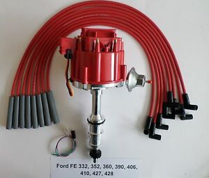 Ford Fe 332 352 360 390 410 427 428 Red Hei Distributor Red Spark Plug Wires